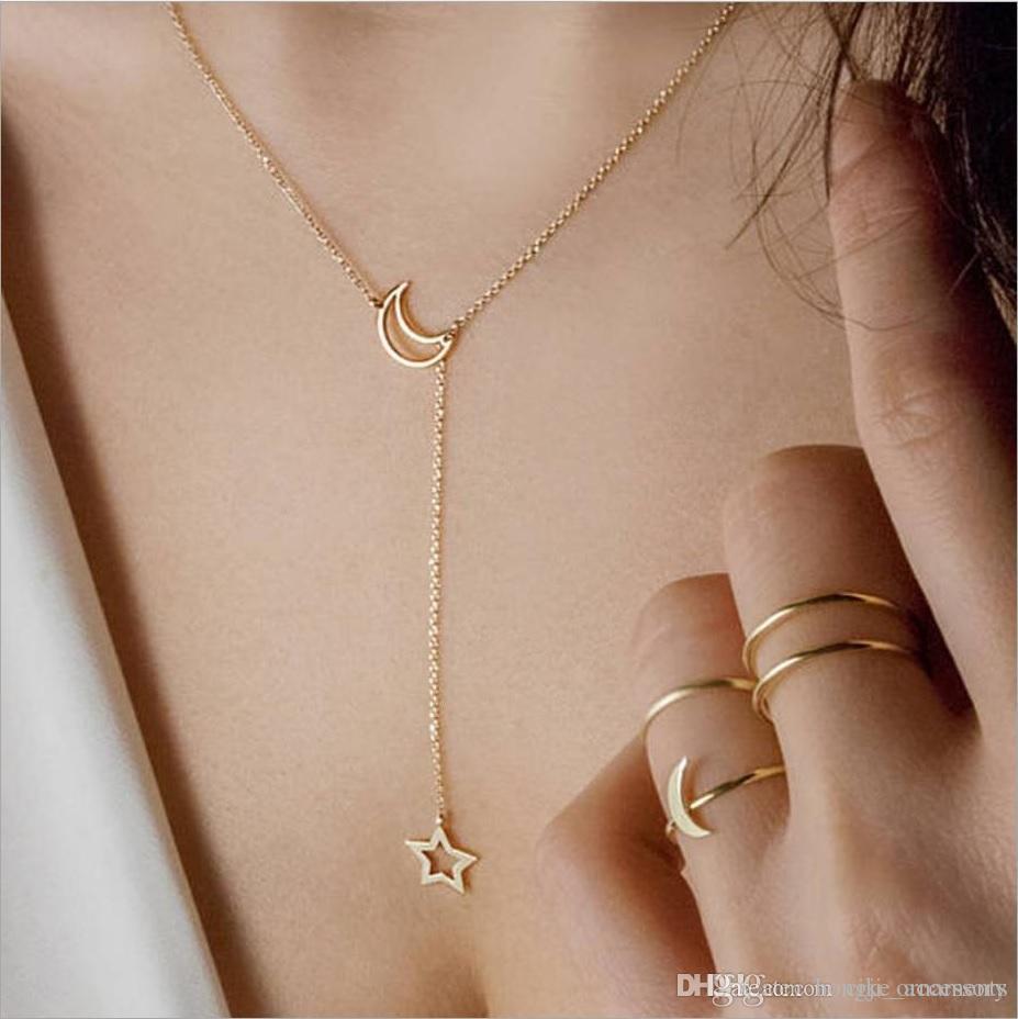 Pendente a stella in lega stile semplice in lega di stile attraverso la luna cavo in argento color oro placcato catena di metallo catena di metallo collana