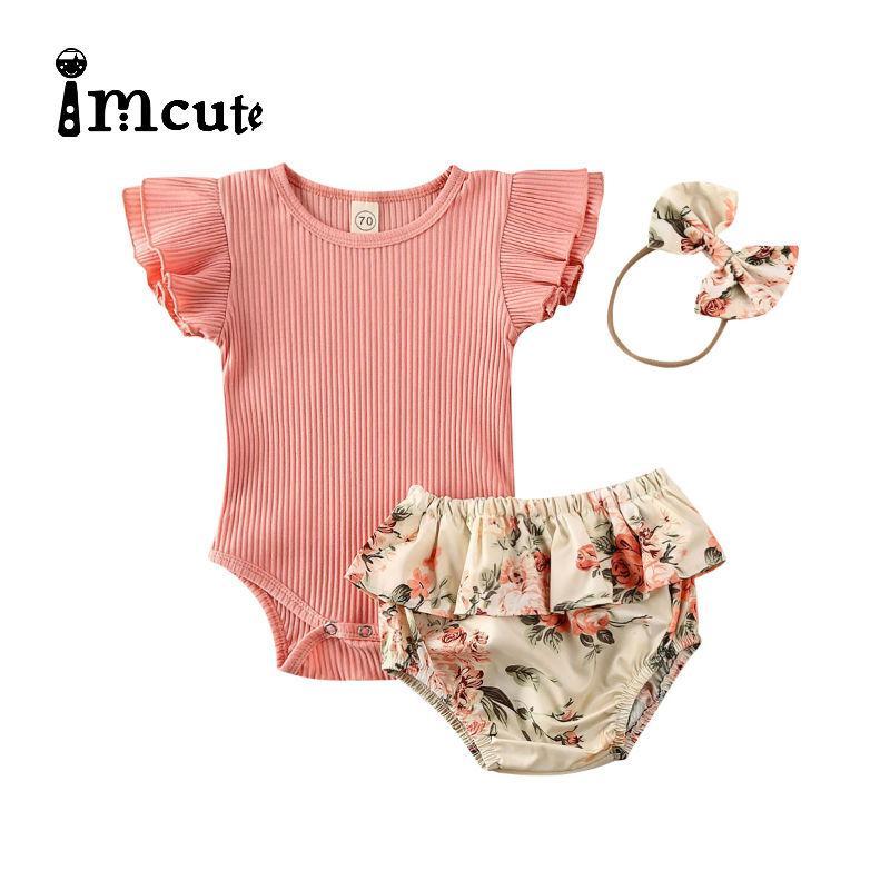 2020 0-24M Baby Hot Summer Clothing Newborn Baby Girl Ruffled Ribbed Bodysuit Floral Shorts Headband 3Pcs Sets Infant Outfits