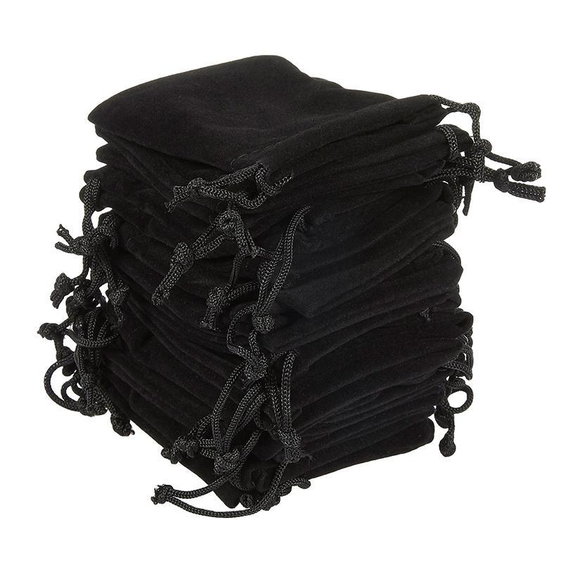 Мягкие бархатные сумки шнурков для ювелирных подарочной упаковки Упаковка из 100 мешочке Сумки для партии свадьбы Supplies Black T200602