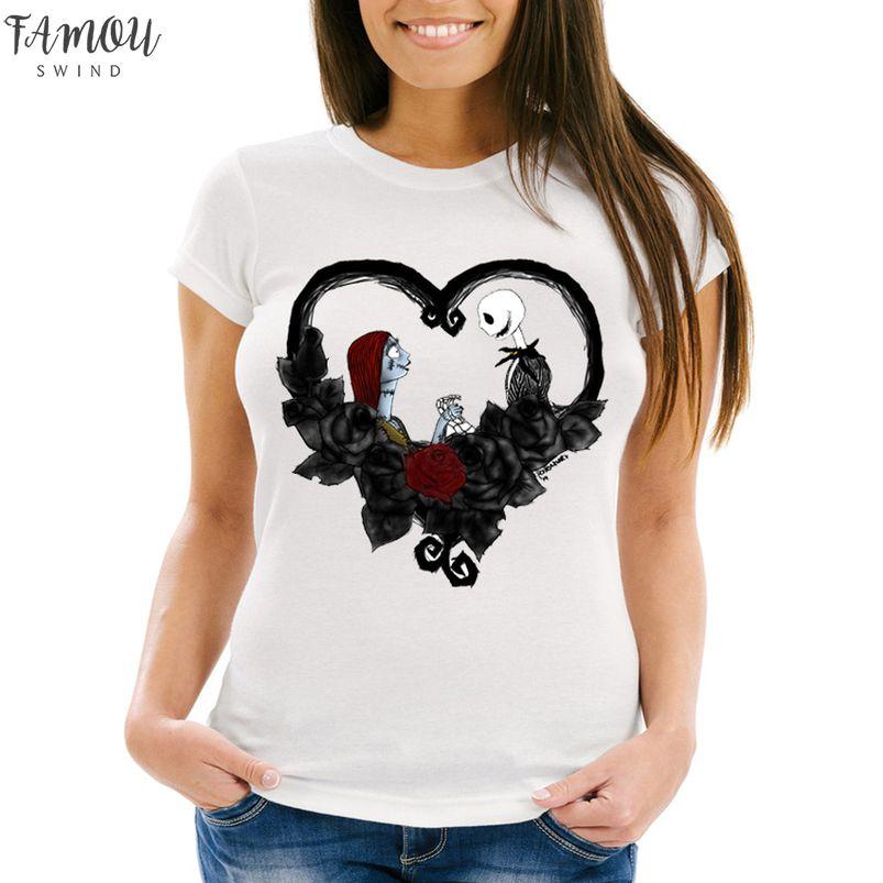 Nightmare Before Natal Jack e Sally Camiseta Mulheres camisetas Coração Humor Girl T Tattoo Shirt Casual Tops Hipster Tees