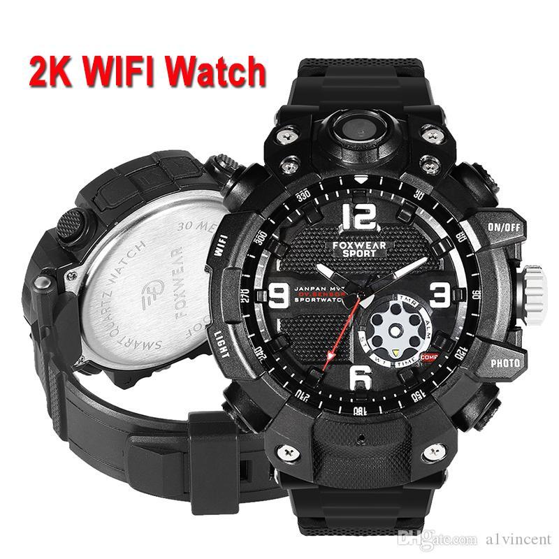 2K inteligente Sport reloj de la cámara HD 1080P Grabación de vídeo Wifi Punto de acceso AP conexión 32 GB de memoria IP67 a prueba de polvo de Waterpoof la luz llevada