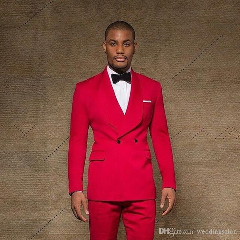 جاذبية الأحمر زر واحد مزدوجة الصدر الرجال الدعاوى شال التلبيب الدعاوى الزفاف للرجال مع سترة السراويل prom البدلات الرسمية قطعتين الحلل