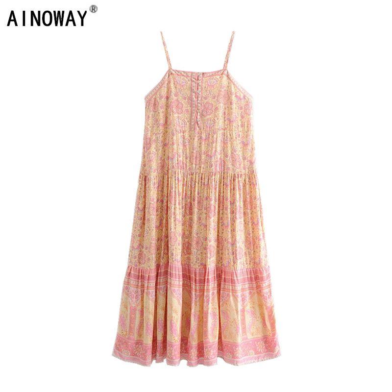Weinlese schicke Frauen rosa Bohemian Spaghetti-Bügel-Kleid-Dame-Sommer Rayon Maxi Boho Kleid vestidos ärmelBlumenDruck