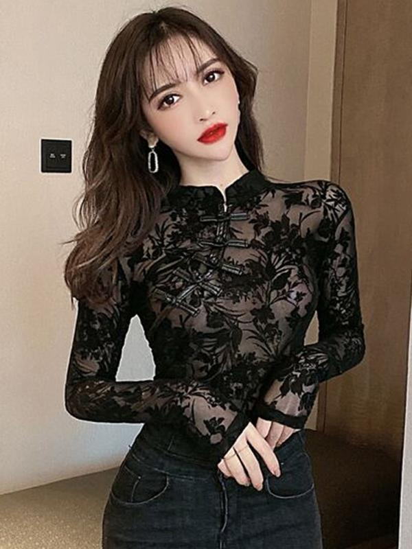 2020 spring summer autumn new women fashion casual lady beautiful nice Tops woman female lace blouse Fq79