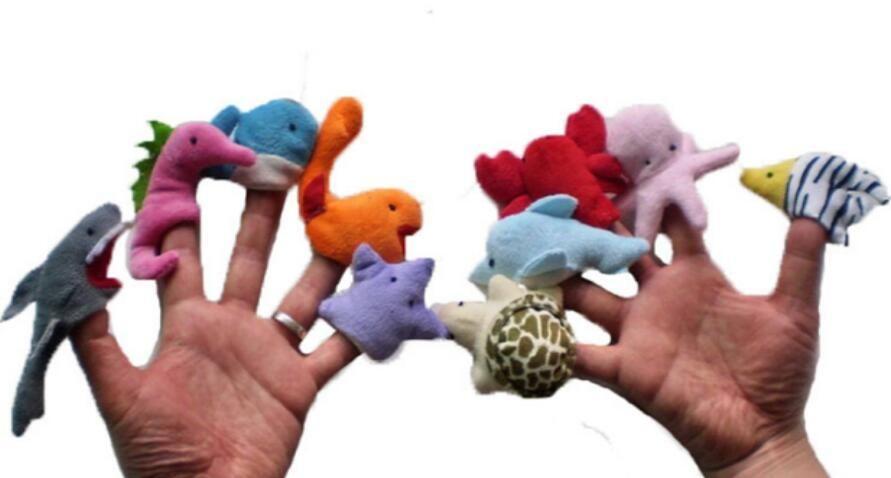 60pcs = 6lot Finger animali Puppet Plush Toys Doll per animali regalo di compleanno del capretto marini del fumetto bambino Preferito Finger Dolls
