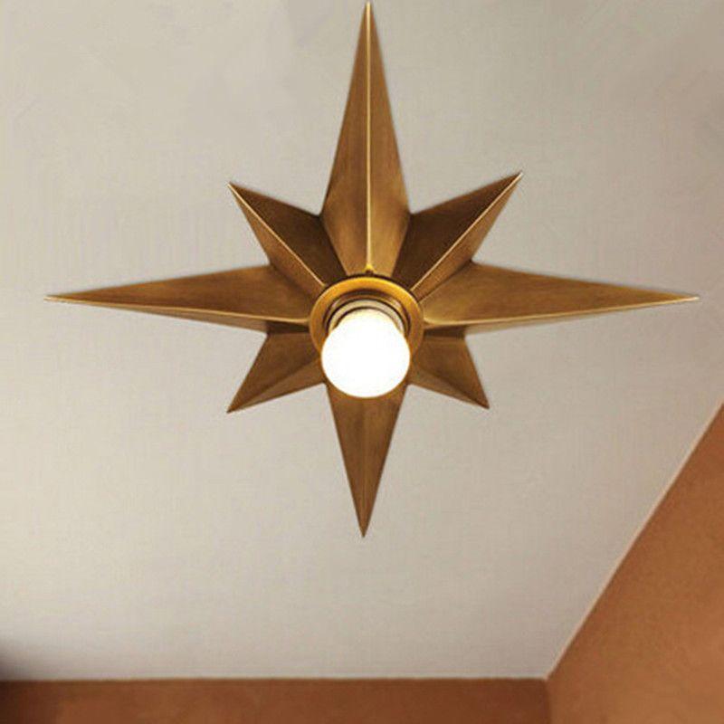 Tam Bakır Yıldız Tavan Işık Fikstürü Amerikan Tarzı Sekizgen Kubbe Işık Basit Balkon Porch Koridor Merdiven Mutfak Tavan Lambası