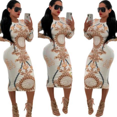 Kadınlar Tasarımcı Elbise Stretch Parti Elbise Çiçek Skinny Kulübü Wear Muhteşem vestidos Lüks Maxi Bandaj BODYCON Elbise High End yazdır