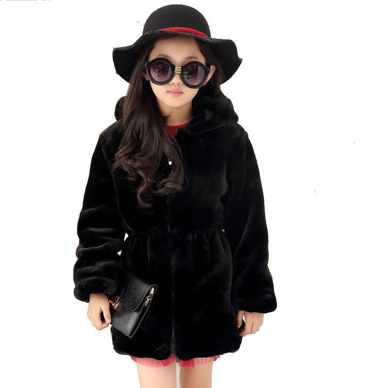 Les filles en fausse fourrure Manteau d'hiver manches longues à capuche chaud Veste imitation fourrure de lapin Manteau long pour les enfants 8-13 Année douce Outwear CL1043 MX191030