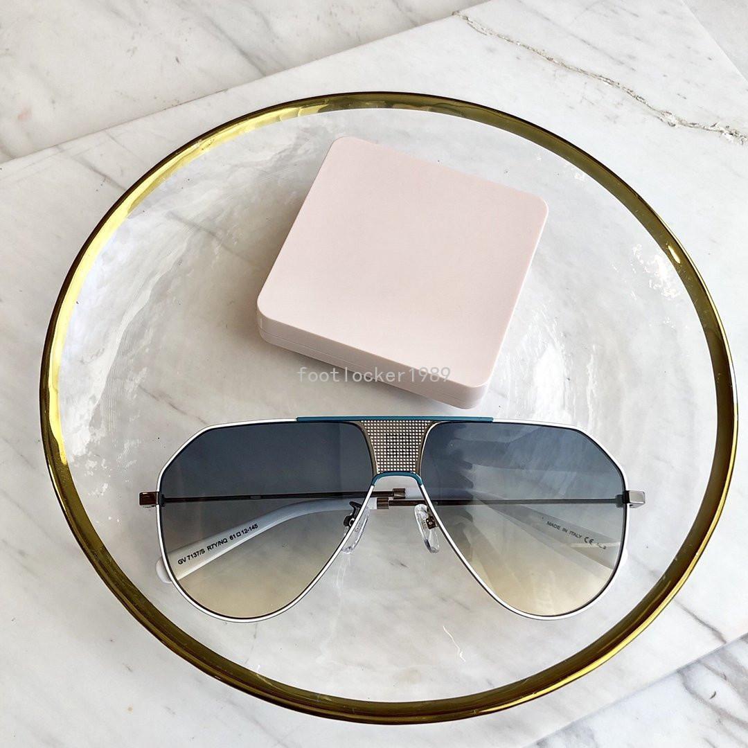 GV7137 Avocado occhiali da sole verdi di lusso delle donne del metallo dell'annata di pendenza di colore della caramella Occhiali Uomini Estate fresca Sunglass Retro Oculos De Sol Occhiali