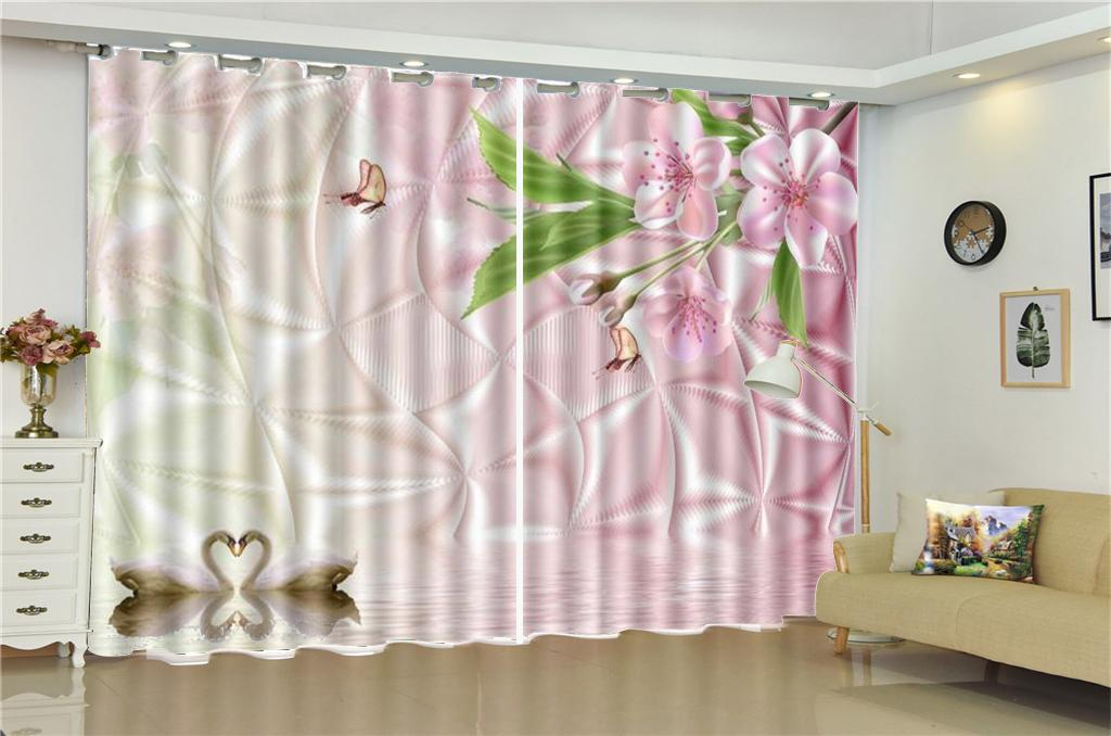 2019 Curtain For Kitchen Promotion Beautiful Swan Lake Decoration Indoor  Living Room Bedroom Kitchen Window Interior Beautiful Blackout Curtains  From ...