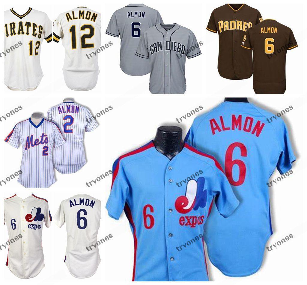 Mens Vintage 1980 Montreal Expos #6 Bill Almon Бейсбольные Майки Дешевые Бело-Синие Билл Алмон Сшитые Рубашки