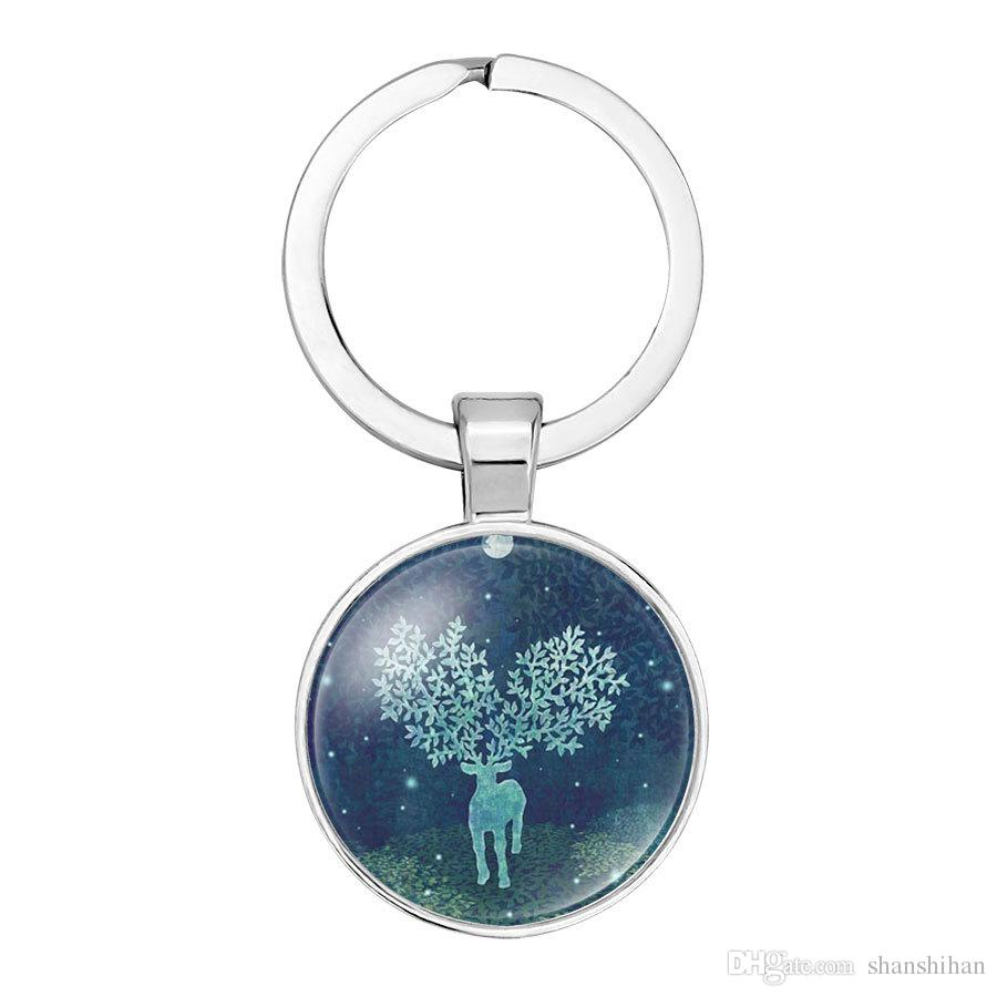 2019 nueva moda creativa colgante llavero accesorios colgantes de la joyería Sen Xiao pequeño fresco pintado a mano renos ciervos Navidad tiempo g