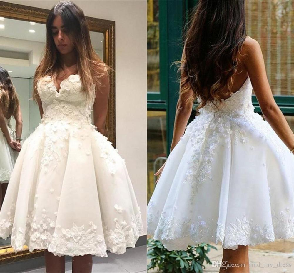 Moda 3d laço verão boho mini vestido de bola curta vestido de noiva querida appliques branco marfim cristal frisado festa nupcial moderno