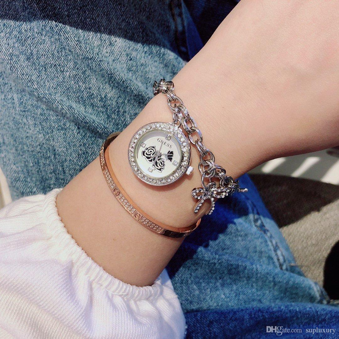 Мода женщин кварцевые часы Симпатичная Fancy Малый браслет Стиль нержавеющая сталь Ремешок Часы темпераментом Наручные часы