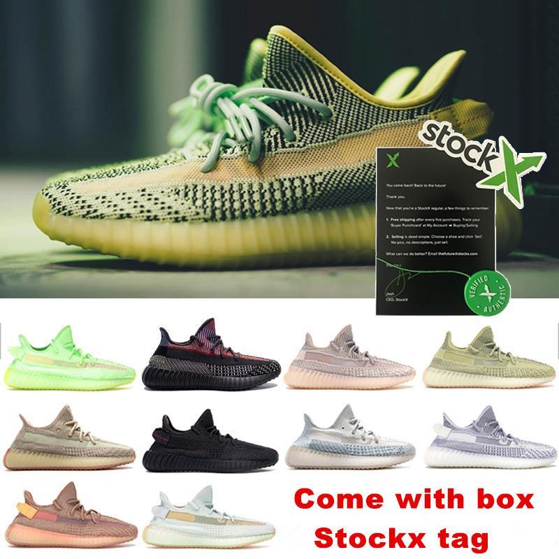 Yeezreel Yecheil Des Chaussure Nero Statico riflettente donne Mens Sneakers Esecuzione argilla bianca Zebra Glow Citrin Designer Sport Sapatos Schuh