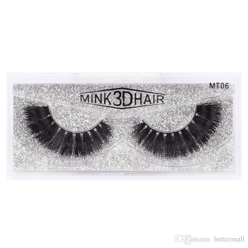 Reusable Natural long thick false eyelashes mink 3D hair soft & vivid mink fur fake lashes handmade eyelashes extensions DHL Free