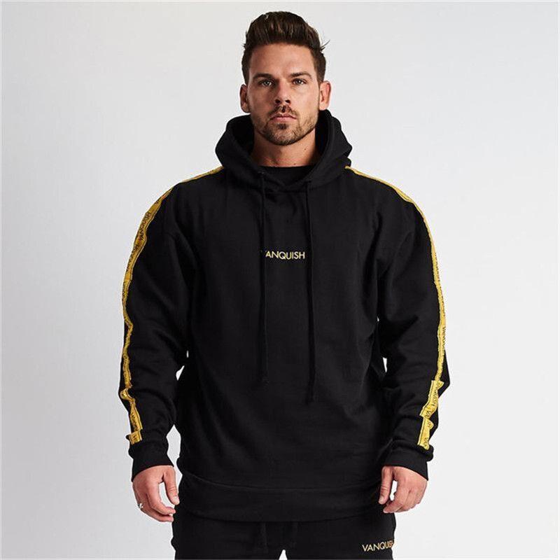 2019 Outono Nova Academia Homens Ginásios camisola Hoodies Musculação com capuz Casual Jacket da camisola Men Slim Fit com capuz