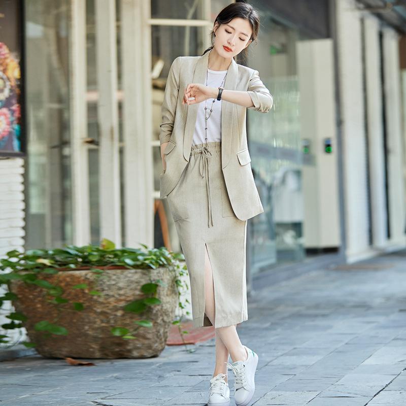 лето женская мода женщин юбка костюмы зубчатый хлопок белье блейзер куртки свободные юбки две части устанавливает женские наряды