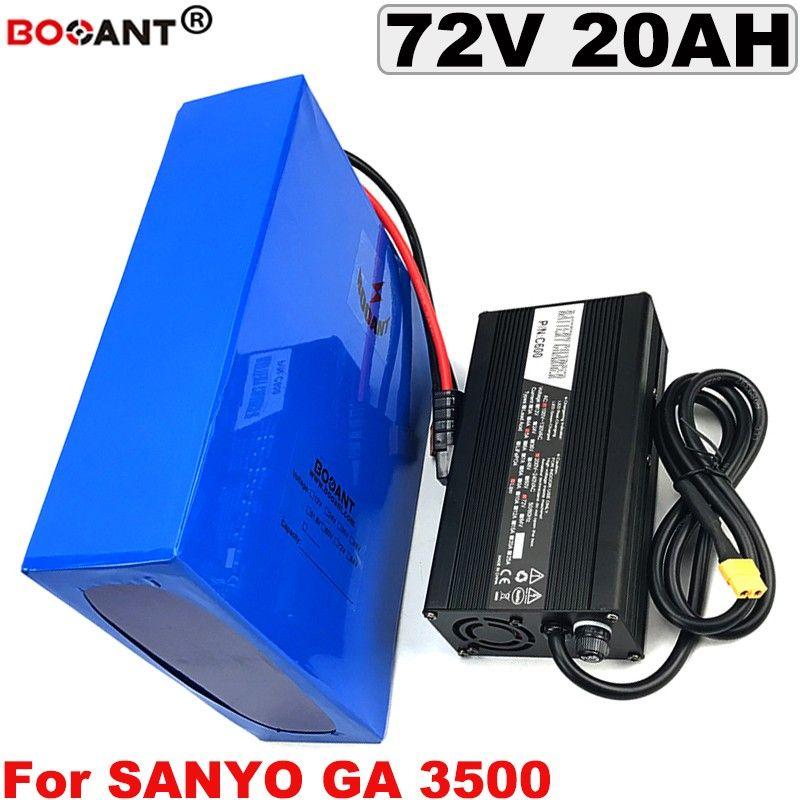 72 V 20AH bici elettrica Batteria per originale Sanyo GA 3500mAh 18650 cella 72 V 1500 W 3000 W E-bike al litio + caricatore 5a spedizione gratuita