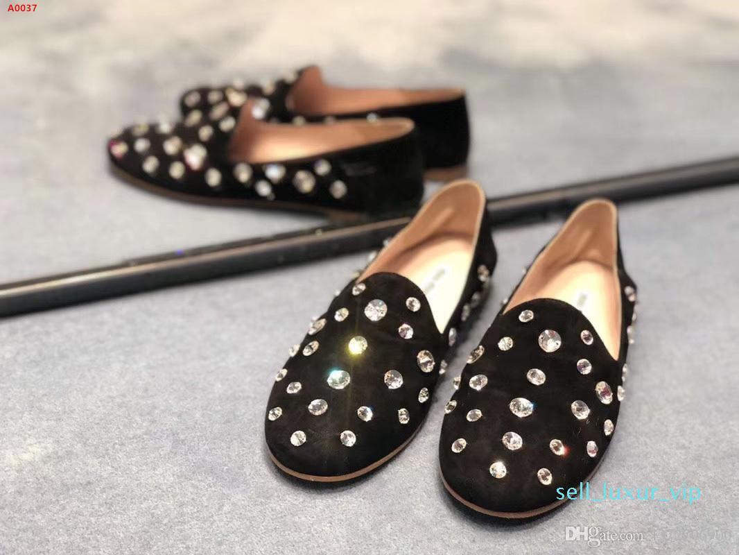 2020 nueva moda de diamantes de agua zapatos de mujer de piel de oveja zapatos solo decorativa negro de alta gama de destello de lujo en polvo