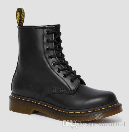 Dr. Martens shoesModa 1460 Suave Martins Botas completa sapatos de trabalho de couro preto Branco Cherry Green Red Navy For Man Mulheres UE 35-48