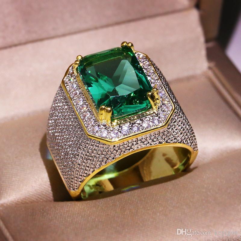 Punk Hohe Qualität Edelstahl Ringe für Männer Big Green Cubic Zirkon Gold Farbe Modeschmuck Zubehör Größe 8-12