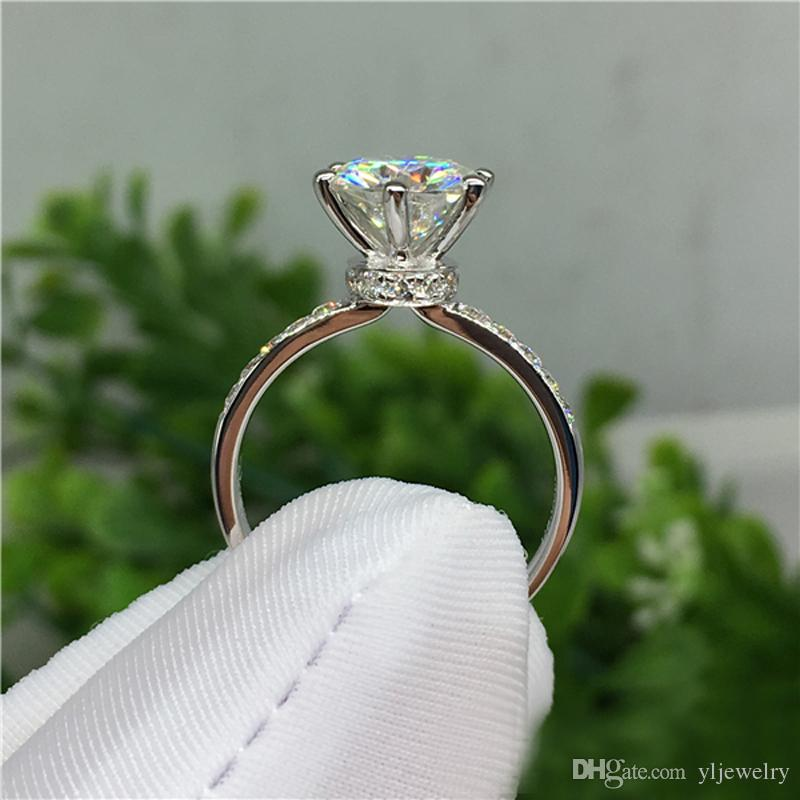 Wholesale Real Original Solid 925 Silver Ring Inlay 1 Carat Diamant Wedding Rings Fine Jewelry CZ Engagement Rings For Women XR050