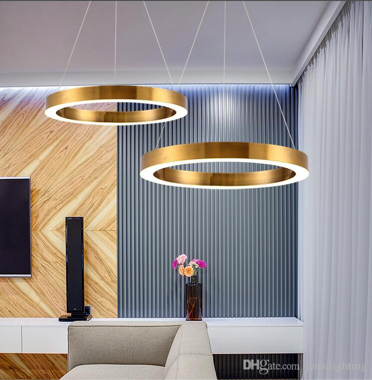 Gold Fashion Modern LED Pendant Light Fixtures Ring Shape Acrylic Droplight For Dining Room Hanging Lamp Indoor Lighting