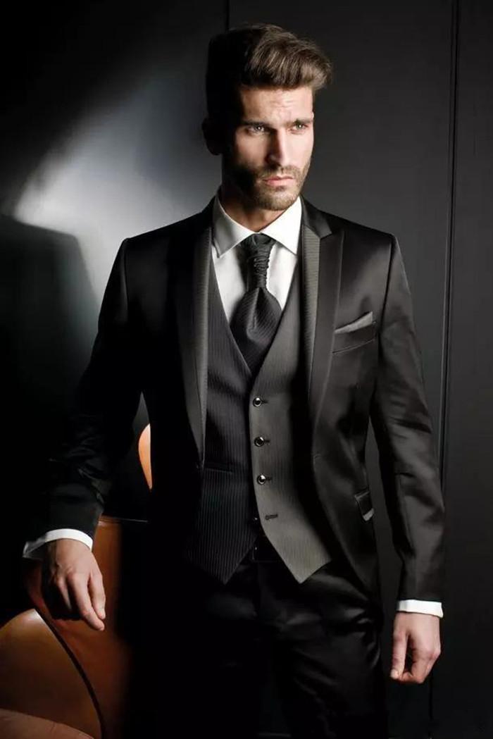 Personalizado nuevo Balck Hombres adaptan a los juegos de boda esmoquin negocio alcanzó su punto máximo solapa del novio 2 piezas (chaqueta + pantalones) Trajes formales Party Prom 504