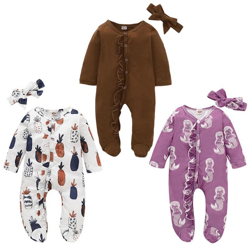 Baby Boy Girl Spring And Autumn Long Sleeve Cotton Cute Cartoon Pattern Bodysuit+Headband Newborn Romper Set