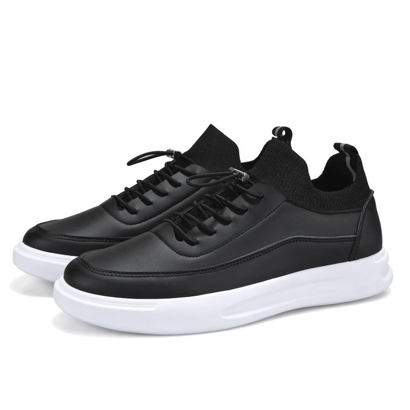 White Sneakers Leather Mens Casual Shoes Loafers Man Lace-up Sport Leather Sneaker Men Comfortable Outdoor Shoes Men Tenis Hombre