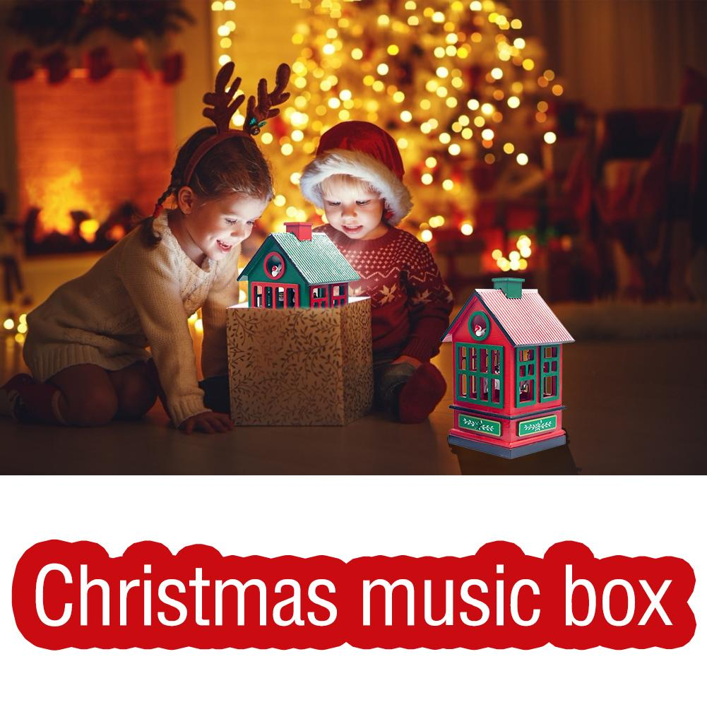 Christmas Carousel Music Box House Shaped Decorations Crafts Children's Toys Retro Christmas Birthday Gift Home Decorations