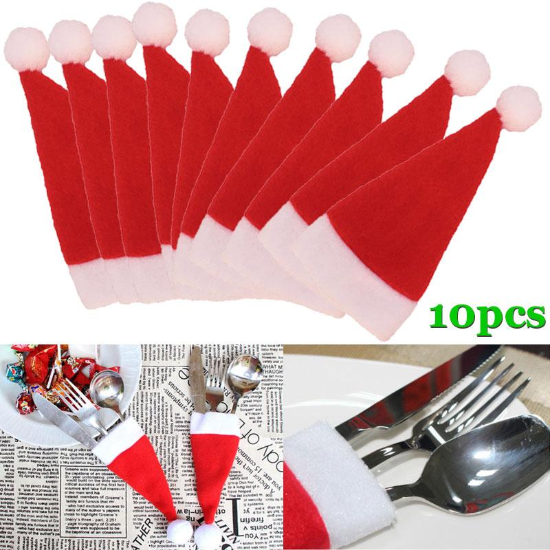 10 Pcs/Set Christmas Hat Cutlery Bag Candy Gift Bags Cute Pocket Fork Knife Holder Table Dinner Decoration 88 For Drop