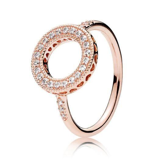 الأصلي 925 فضة ارتفع الذهب قلوب من هالة الدائري ل باندورا المرأة الزفاف الذكرى حزب هدية الأزياء والمجوهرات