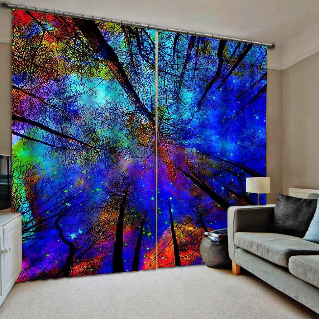 Aduana cualquier cortinas opacas tamaño de fotos para la decoración del hogar cortinas verdes bosques dormitorio grande