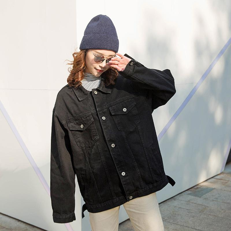 2019 Women jeans jacket black long basical denim jacket coat single breasted Full Sleeves BF fashion loose Women Denim coats Y200101