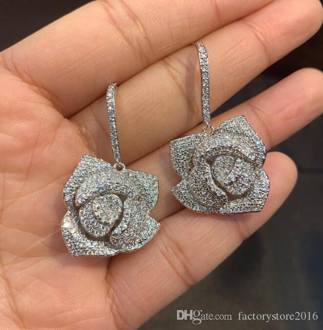 orecchini del progettista di marca per i monili delle donne di nozze con il cristallo 2019 di rosa di modo orecchino d'argento S925 zirconi orecchini anelli