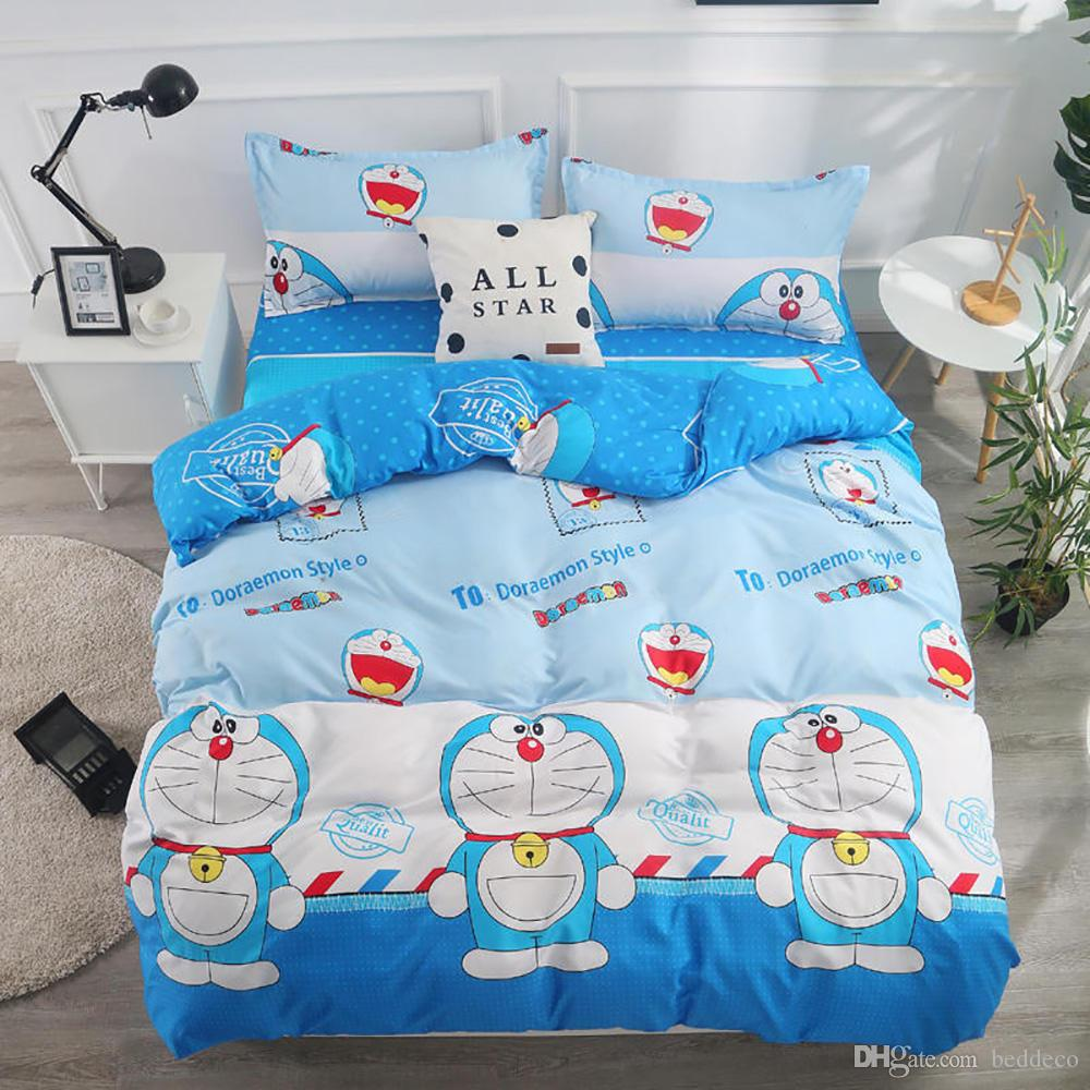 Doraemon Bedding Set For Kids Classic Fashionable Blue Duvet Cover Cartoon Queen Full Twin Single Comfortable Bed Cover With Pillowcase From Beddeco 28 8 Dhgate Com