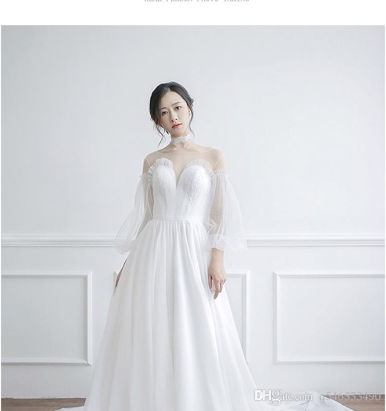 Sen light wedding dress 2018 new bride small trailing princess dream simple super fairy was thin out the door travel brigade winter