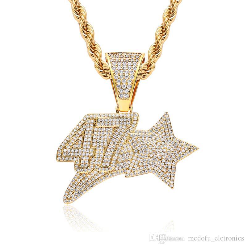 Мужчины и Женщины Золото Серебро цветного CZ камень Hip Hop Количество звезд 47 ожерелье кулон Подвеска ювелирных подарки
