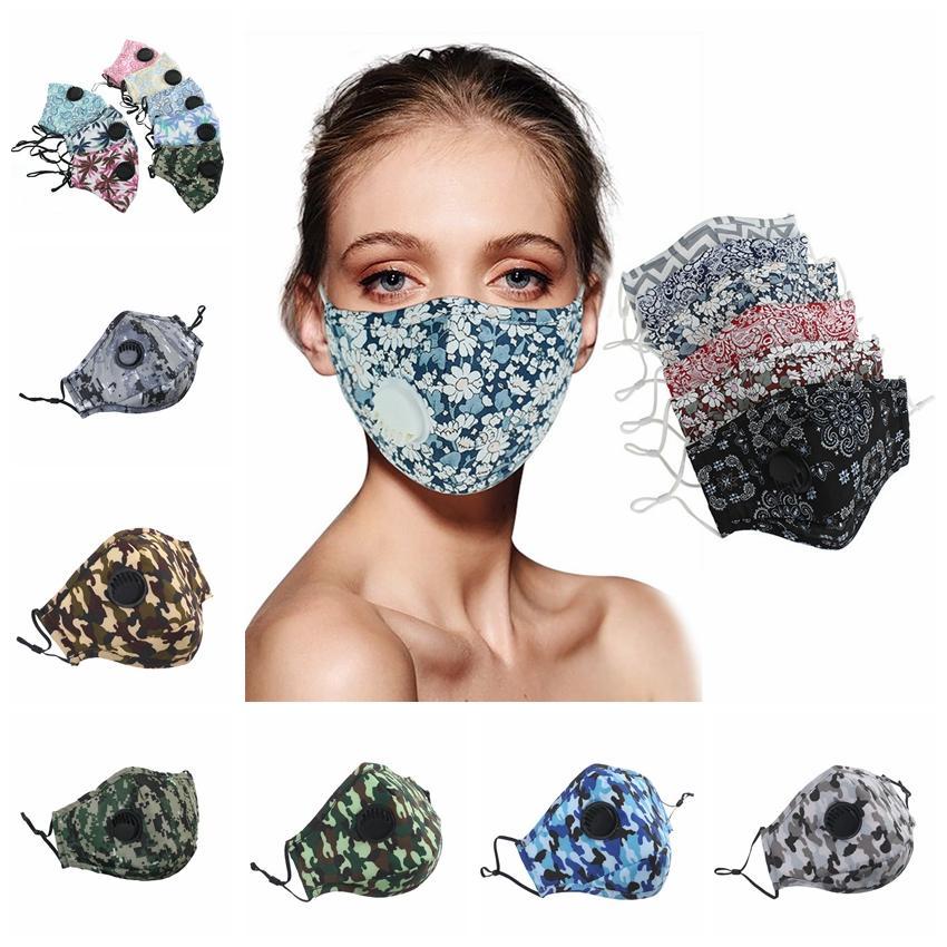 Camo respiration Valve Masque Masques ajustables adulte lavable visage couverture réutilisable bouche moufles sans filtre Pad CCA12267 120pcs