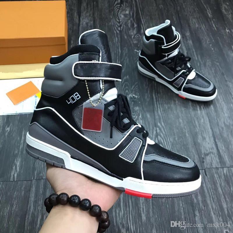 Haute qualité FORMATEUR Baskets montantes Top Fashion Designer Luxe classique Chaussures Hommes Chain Reaction augmentation de la hauteur Respirant Chaussures Mn02