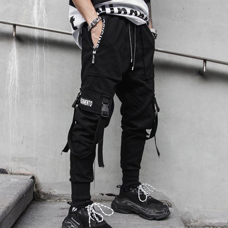 Männer Bänder Seitentaschen Cargo Pants Hip Hop Fashion Jogginghose beiläufige Harem Street High Street Schwarz-Bleistift-Hosen