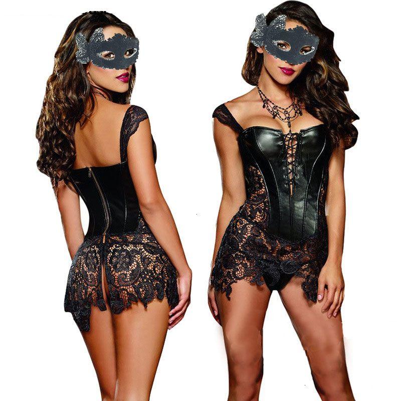 Corsetto più il formato più Intimo Sexy Lingerie corda in poliestere Imposta Donna Lace corsetto del Burlesque Dress Vita gotica Bustier Plus Size