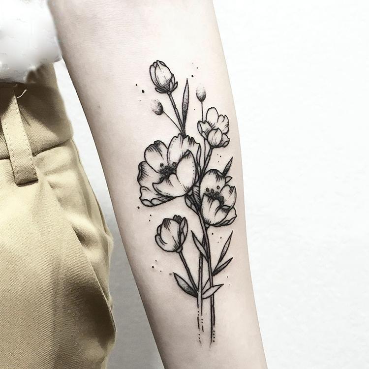 Tatuaje temporal a prueba de agua pegatinas Negro Eustoma Flor tamaño pequeño Tatto flash Tatoo falsifican tatuajes para hombre Kid mujeres de la muchacha