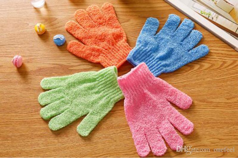 Şeker renk beş parmak naylon çift taraflı peeling ölü cilt banyo eldivenleri masaj banyo havlusu