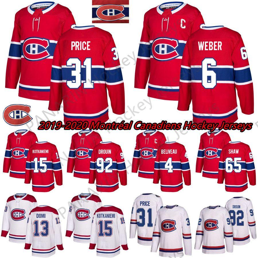 2019 Nuovo Montréal Canadiens 6 Shea Weber 31 Carey Prezzo 11 Brendan Gallagher 13 Max DOMI cucito cucito maglie di hockey su ghiaccio rosso e bianco