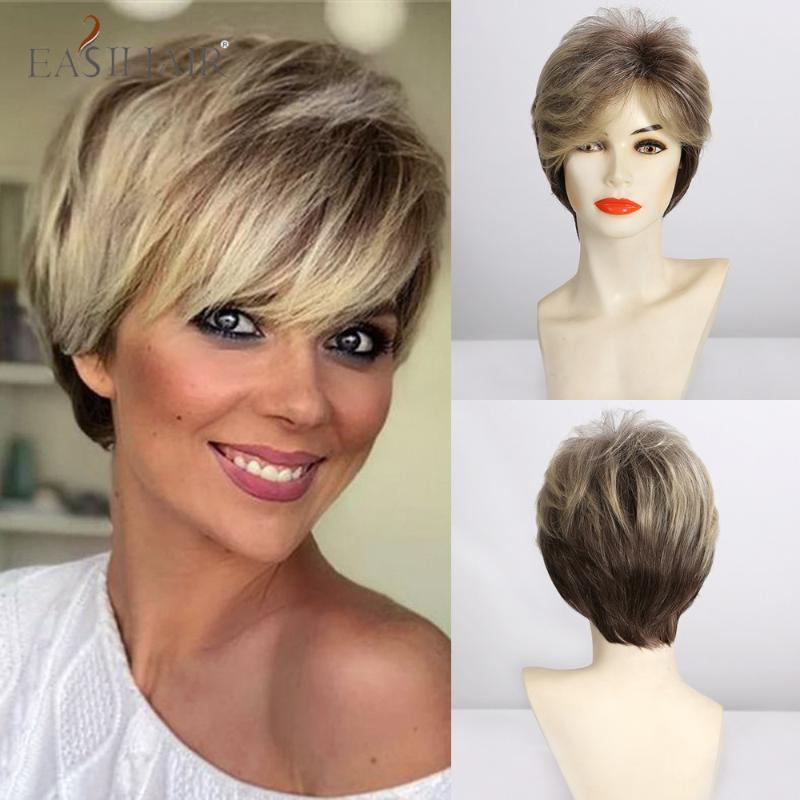 EASIHAIR Fashion Short Straight Wigs Mixed Blonde Side Part Syntheyic Wigs for Afro Women Heat Resistant Daily Natural Hair