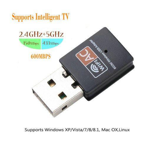 USB لاسلكية واي فاي محول 600 ميغابايت / ثانية، AC الدخول إلى الإنترنت اللاسلكي مفتاح PC بطاقة شبكة واي فاي المزدوج الفرقة استقبال 5 غيغاهرتز لان إيثرنت