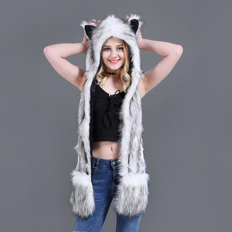 Faux Fur Hood Animal Hat For Men Women Ear Flaps Hand Pockets Animal Hood Hat Wolf Plush Warm Cap with Scarf Gloves H3